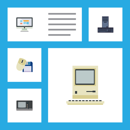computerized: Flat Icon Laptop Set Of Display, Vintage Hardware, Computer Mouse And Other Vector Objects. Also Includes Floppy, Monitor, Computing Elements.