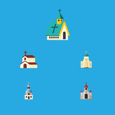 Flat Icon Christian Set Of Traditional, Religion, Religious And Other Vector Objects. Also Includes Architecture, Building, Faith Elements. Illustration
