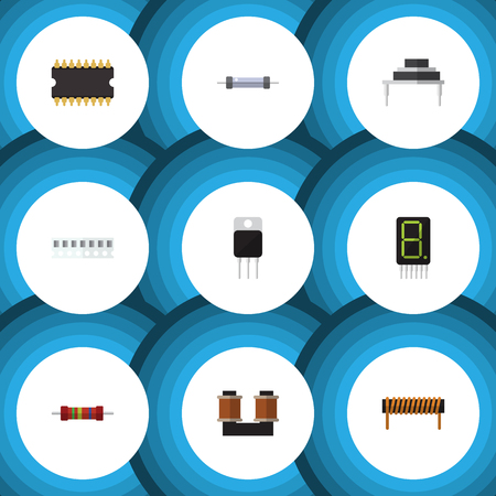 Flat Icon Appliance Set Of Receiver, Resistance, Memory And Other Vector Objects. Also Includes Transistor, Central, Set Elements.