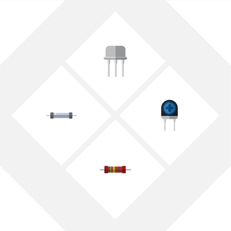 Flat Icon Technology Set Of Resist, Resistance, Transducer And Other Vector Objects. Also Includes Recipient, Resistance, Transistor Elements.