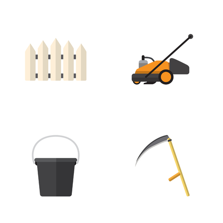 Flat Icon Garden Set Of Pail, Wooden Barrier, Cutter And Other Vector Objects. Also Includes Wooden, Barrier, Cutter Elements.