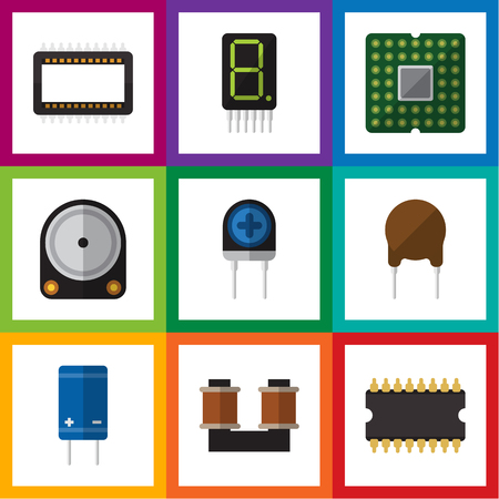 Flat Icon Appliance Set Of Mainframe, Triode, Coil Copper And Other Vector Objects. Also Includes Calculate, Transistor, Transducer Elements.