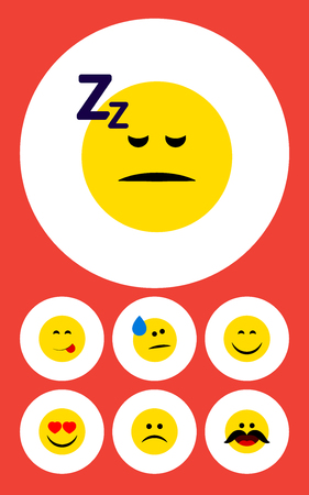 Flat Icon Face Set Of Sad, Delicious Food, Tears And Other Vector Objects. Also Includes Eyes, Sleeping, Face Elements.