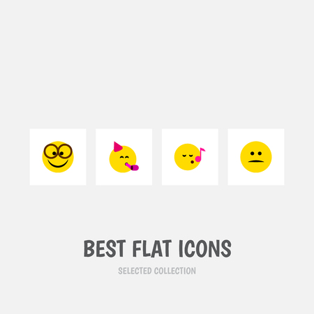 Flat Icon Expression Set Of Displeased, Party Time Emoticon, Pleasant And Other Vector Objects. Also Includes Party, Face, Displeased Elements.