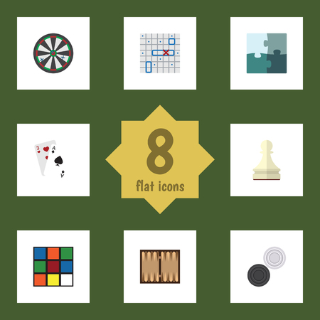 Flat Icon Play Set Of Cube, Sea Fight, Chequer And Other Vector Objects. Also Includes Play, Game, Rubik Elements.