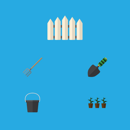 Flat Icon Garden Set Of Hay Fork, Pail, Trowel And Other Vector Objects. Also Includes Spatula, Bucket, Fence Elements.