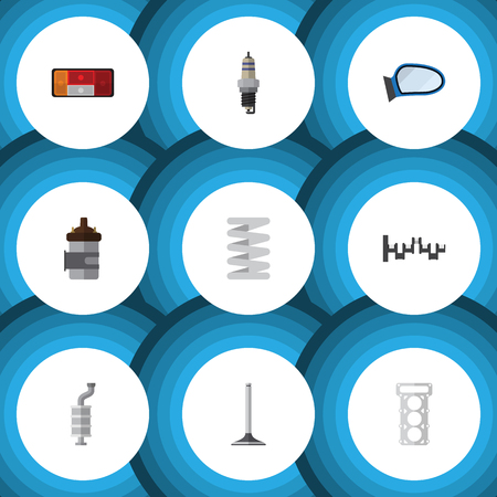 axles: Flat Icon Component Set Of Headlight, Silencer, Spare Parts And Other Vector Objects. Also Includes Mirror, Taillight, Spring Elements.