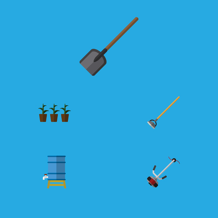 Flat Icon Garden Set Of Shovel, Tool, Container And Other Vector Objects. Also Includes Spade, Water, Botany Elements. Illustration