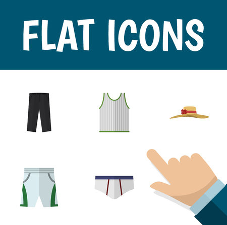 trouser: Flat Icon Clothes Set Of Elegant Headgear, Underclothes, Trunks Cloth And Other Vector Objects. Also Includes Singlet, Leggings, Underwear Elements.