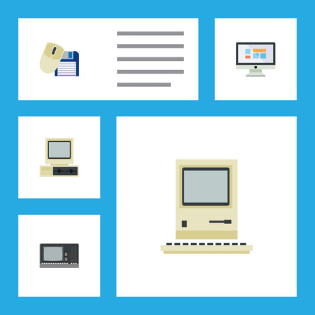 Flat Icon Laptop Set Of Computer Mouse, Computing, Vintage Hardware And Other Vector Objects