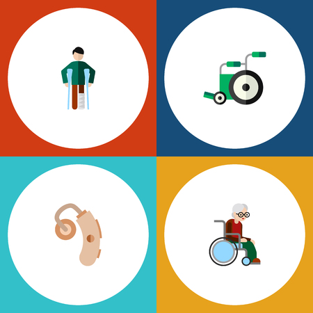 Flat Icon Handicapped Set Of Equipment, Injured, Wheelchair And Other Vector Objects