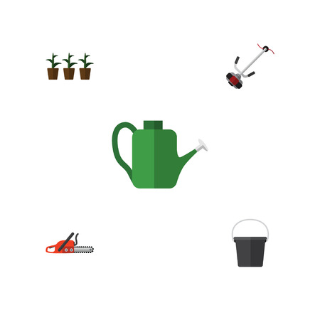 Flat Icon Farm Set Of Pail, Flowerpot, Grass-Cutter And Other Vector Objects