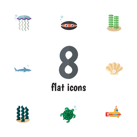 Flat Icon Nature Set Of Alga, Medusa, Tortoise And Other Vector Objects Illustration