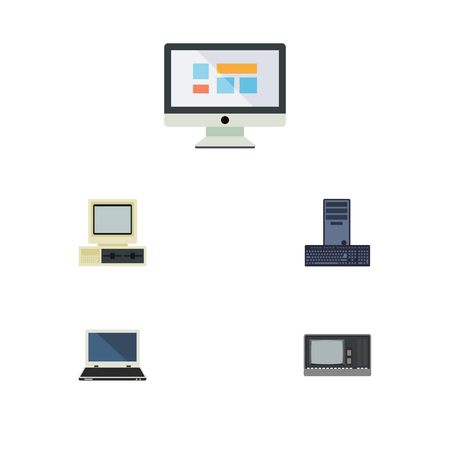 computerized: Flat Icon Computer Set Of Vintage Hardware, Processor, Notebook And Other Vector Objects. Also Includes PC, Display, Notebook Elements.