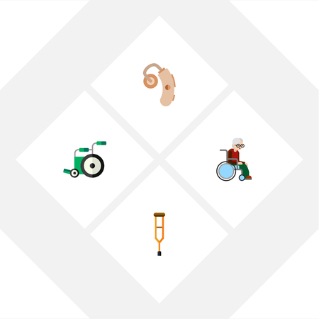 physical impairment: Flat Icon Handicapped Set Of Stand, Wheelchair, Audiology Vector Objects. Also Includes Aid, Stand, Man Elements.
