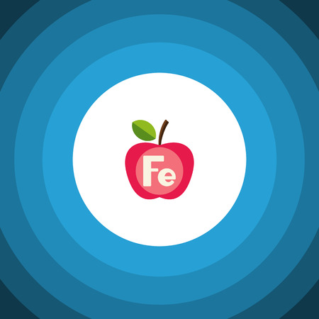 Isolated Ferrum Flat Icon. Apple Vector Element Can Be Used For Ferrum, Apple, Healthy Design Concept.