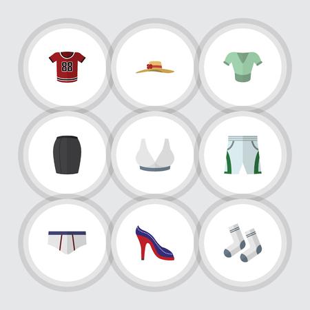 Flache Icon Dress Set von Trunks Tuch, Casual, Stöckelschuhe und andere Vektor-Objekte. Beinhaltet auch Schuhe, Sport, Stöckelelemente.