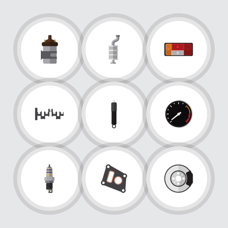 Flat Icon Parts Set Of Headlight, Absorber, Silencer And Other Vector Objects