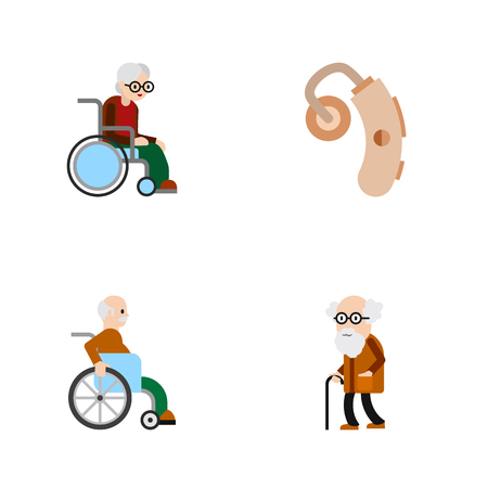 Flat Icon Disabled Set Of Wheelchair, Audiology, Handicapped Man Vector Objects. Also Includes Aid, Man, Old Elements.