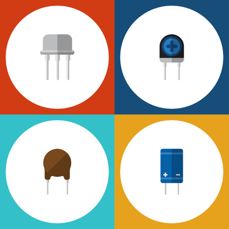 Flat Icon Electronics Set Of Resist, Triode, Transistor And Other Vector Objects. Also Includes Semiconductor, Recipient, Set Elements. Illustration