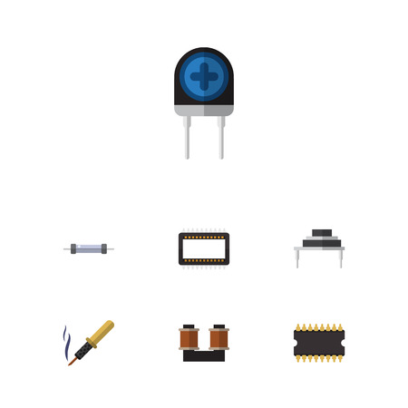 Flat Icon Technology Set Of Resistor, Microprocessor, Destination And Other Vector Objects. Also Includes Transducer, Transistor, Coil Elements.