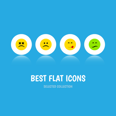 Flat Icon Gesture Set Of Cross-Eyed Face, Delicious Food, Sad And Other Vector Objects. Also Includes Savoring, Face, Food Elements.