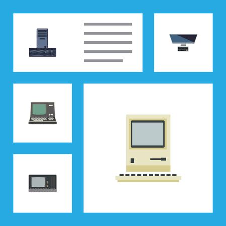 computerized: Flat Icon Laptop Set Of Technology, PC, Vintage Hardware And Other Vector Objects. Also Includes Keyboard, Vintage, Processor Elements. Illustration