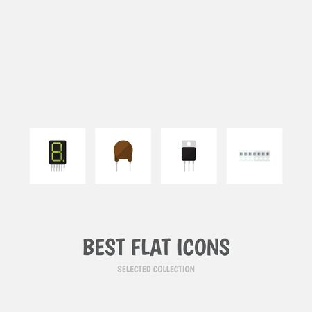 Flat Icon Device Set Of Receiver, Memory, Display And Other Vector Objects. Also Includes Fiildistor, Random, Calculator Elements. Illustration