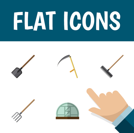 Plat Icon Farm Set de pelle, Cutter, Hothouse et autres objets vectoriels. Comprend également une pelle, un râteau et des éléments de fourche.