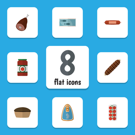 hermetic: Flat Icon Food Set Of Ketchup, Tart, Canned Chicken And Other Vector Objects. Also Includes Canned, Beef, Fillet Elements. Illustration