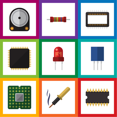 Flat Icon Technology Set Of Recipient, Cpu, Resistance And Other Vector Objects. Also Includes Hard, Transducer, Unit Elements.