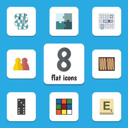 Flat Icon Games Set Of Mahjong, People, Jigsaw And Other Vector Objects. Also Includes Play, Backgammon, Table Elements. Illustration