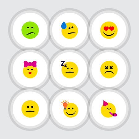 Flat Icon Emoji Set Of Love, Asleep, Tears And Other Vector Objects. Also Includes Displeased, Smile, Heart Elements.