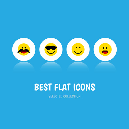 Flat Icon Face Set Of Cheerful, Wonder, Smile And Other Vector Objects. Also Includes Smile, Wonder, Whiskers Elements.