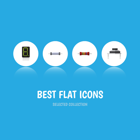 Flat Icon Device Set Of Display, Resistance, Destination And Other Vector Objects. Also Includes Calculate, Electronics, Destination Elements. Illustration