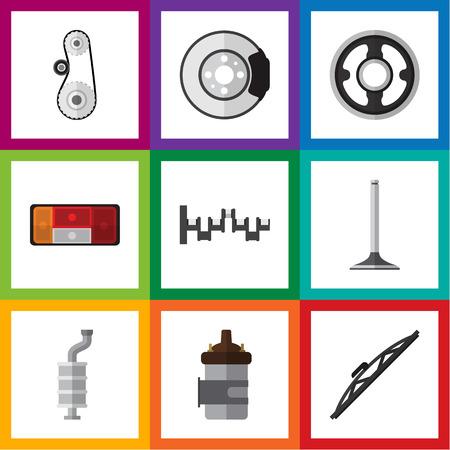 Flat Icon Auto Set Steels Shafts, Windshield, koplamp en andere Vector-objecten. Inclusief drive, staal, achterlichtelementen.