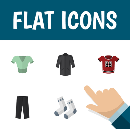 trouser: Flat Icon Clothes Set Of Pants, Uniform, T-Shirt And Other Vector Objects. Also Includes Leggings, Textile, Socks Elements.