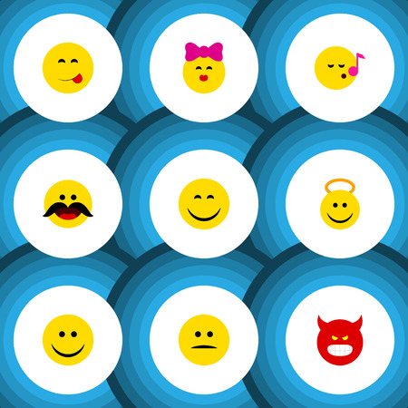 Flat Icon Face Set Of Joy, Cheerful, Pouting And Other Vector Objects. Also Includes Savoring, Cheerful, Whiskers Elements.
