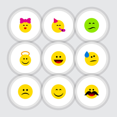 Flat Icon Emoji Set Of Laugh, Smile, Tears And Other Vector Objects. Also Includes Grin, Tears, Sad Elements.