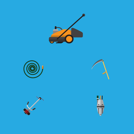 Flat Icon Dacha Set Of Hosepipe, Pump, Cutter And Other Vector Objects. Also Includes Scythe, Lawn, Garden Elements.