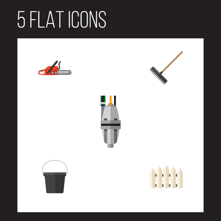 Flat Icon Farm Set Of Hacksaw, Wooden Barrier, Harrow And Other Vector Objects. Also Includes Equipment, Harrow, Saw Elements.