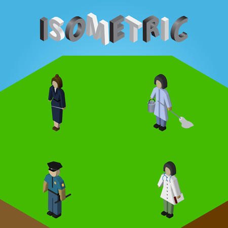 Isometric Person Set Of Housemaid, Doctor, Officer And Other Vector Objects. Also Includes Doctor, Worker, Businesswoman Elements.