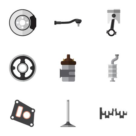 Flat Icon Parts Set van pakking, Drijfstang, riem en andere Vectorobjecten. Bevat ook staal, metaal en motoronderdelen. Stock Illustratie