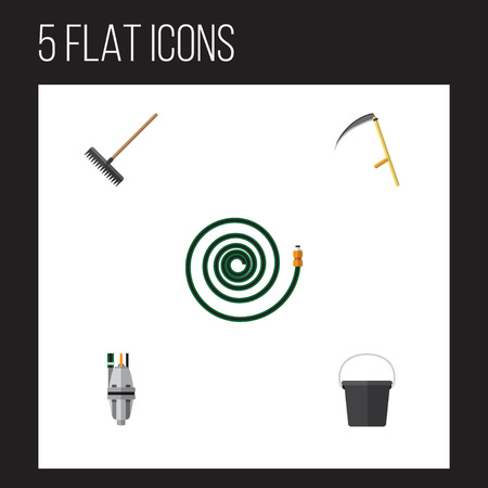 Flat Icon Dacha Set Of Harrow, Pail, Pump And Other Vector Objects. Also Includes Harrow, Tool, Container Elements.