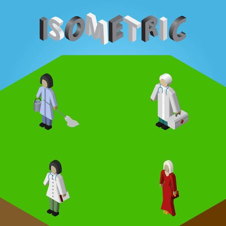 Isometric Human Set Of Doctor, Housemaid, Female And Other Vector Objects. Also Includes Nurse, Housemaid, Cleaner Elements. Illustration