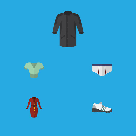 Flat Icon Garment Set Of Uniform, Clothes, Casual And Other Vector Objects. Also Includes Garment, Shoes, Underclothes Elements.