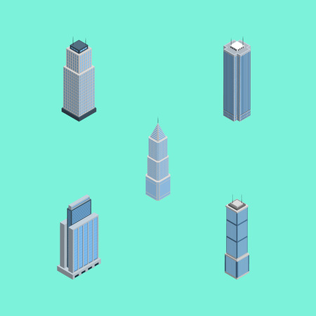 Isometric Skyscraper Set Of Exterior, Apartment, Skyscraper And Other Vector Objects. Also Includes Residential, Urban, Skyscraper Elements. Illustration