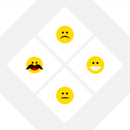 Flat Icon Face Set Of Cheerful, Grin, Displeased And Other Vector Objects. Also Includes Grin, Frown, Mood Elements.