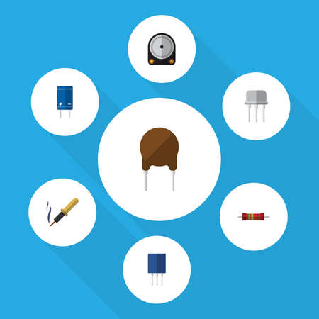 Flat Icon Electronics Set Of Receptacle, Hdd, Triode And Other Vector Objects. Also Includes Iron, Resist, Resistance Elements. Illustration