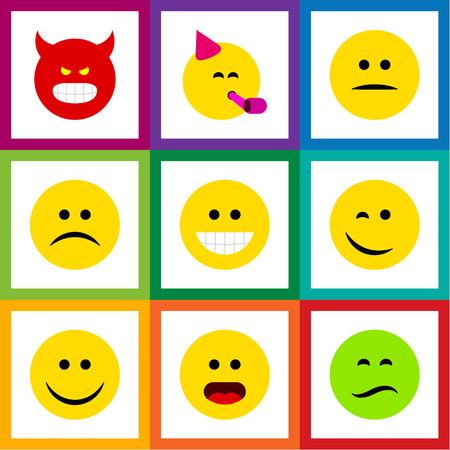 Conjunto de gestos de icono plano de pucheros, Emoticon de fiesta, tristes y otros objetos vectoriales. También incluye pouting, Wonder, Emoji Elements.